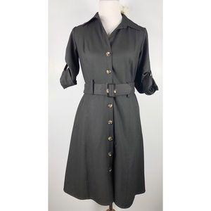 Ann Taylor classy collar black dress with belt ♥️